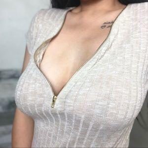 Tan Ribbed Zip Up Short Sleeve Shirt
